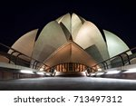 lotus temple in new delhi ... | Shutterstock . vector #713497312