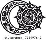 abstract white pattern on black ... | Shutterstock .eps vector #713497642