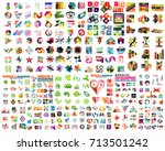 set of geometric banners ... | Shutterstock .eps vector #713501242