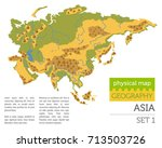 flat asia physical map... | Shutterstock .eps vector #713503726