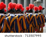 swiss guards at the vatican | Shutterstock . vector #713507995