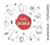 hand drawn set for helloween.... | Shutterstock .eps vector #713511856