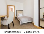 interior of a single bed  hotel ... | Shutterstock . vector #713511976