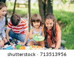 portrait of three children... | Shutterstock . vector #713513956