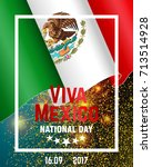 traditional mexican flag with... | Shutterstock .eps vector #713514928