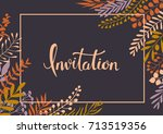 elegant floral twigs and... | Shutterstock .eps vector #713519356