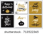 set of greeting cards for... | Shutterstock .eps vector #713522365
