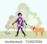 the girl walks with the dogs | Shutterstock .eps vector #713527036