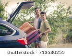 people travelling by car ... | Shutterstock . vector #713530255