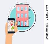 hand holding mobile smart phone ... | Shutterstock .eps vector #713531995