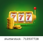 slot machine lucky sevens... | Shutterstock .eps vector #713537728