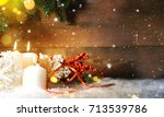 candels with christmas... | Shutterstock . vector #713539786