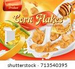 corn flakes  honey and milk... | Shutterstock .eps vector #713540395