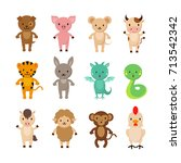 chinese zodiac animals cartoon... | Shutterstock .eps vector #713542342