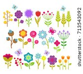 summer flowers isolated vector... | Shutterstock .eps vector #713543092