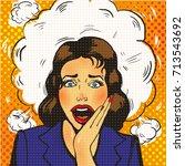 sexy surprised pop art woman... | Shutterstock .eps vector #713543692