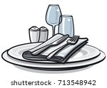 illustration of table setting... | Shutterstock .eps vector #713548942