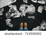 traveler woman standing on the... | Shutterstock . vector #713550502