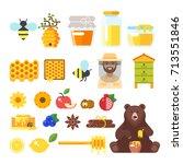 vector flat style set of... | Shutterstock .eps vector #713551846