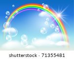 rainbow  sky  clouds  bubbles ... | Shutterstock .eps vector #71355481