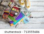 backpack with school supplies | Shutterstock . vector #713555686