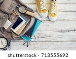 backpack with school supplies | Shutterstock . vector #713555692