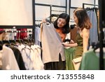 fashion consultant showing... | Shutterstock . vector #713555848