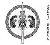 the spear of the god odin  ... | Shutterstock .eps vector #713559202