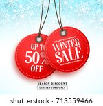 winter sale vector banner with... | Shutterstock .eps vector #713559466