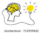creative concept. brain plugged ... | Shutterstock . vector #713559832