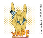 hand with electronic cigarette  ... | Shutterstock .eps vector #713561032