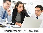 business woman leader training... | Shutterstock . vector #713562106