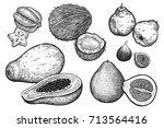 fruit and nuts isolated on... | Shutterstock .eps vector #713564416