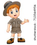 boy explorer waving | Shutterstock . vector #713564956