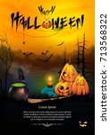 halloween background with a... | Shutterstock .eps vector #713568322