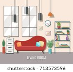 living room interior with... | Shutterstock .eps vector #713573596