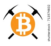 symbol of mining cryptocurrency ... | Shutterstock .eps vector #713574832