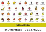 fruits collection. healthy... | Shutterstock .eps vector #713575222