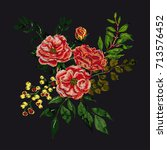 vector embroidery with floral... | Shutterstock .eps vector #713576452