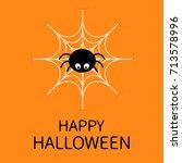 happy halloween card. spider on ... | Shutterstock . vector #713578996