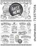 burger food menu for restaurant ... | Shutterstock .eps vector #713579356