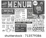 coffee drink menu for... | Shutterstock .eps vector #713579386