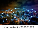 smart city and communication... | Shutterstock . vector #713581222
