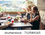business people meeting eating... | Shutterstock . vector #713584165