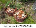 shot of pair wicker baskets...   Shutterstock . vector #713585146