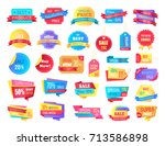 collection of hot price sale... | Shutterstock .eps vector #713586898