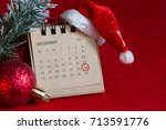 calendar and circled christmas... | Shutterstock . vector #713591776