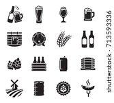 beer icons set. vector  black... | Shutterstock .eps vector #713593336