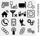connection icons set. set of 16 ... | Shutterstock .eps vector #713593396