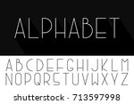 thin minimalistic font. vector... | Shutterstock .eps vector #713597998